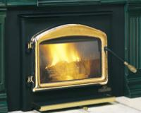 Small Fireplace Insert. Small Woodburning Insert  Large viewing area through an elegantly arched Cast-iron door.  Effective air wash in combination with high temperatures keeps the viewing glass clean and bright.   Includes